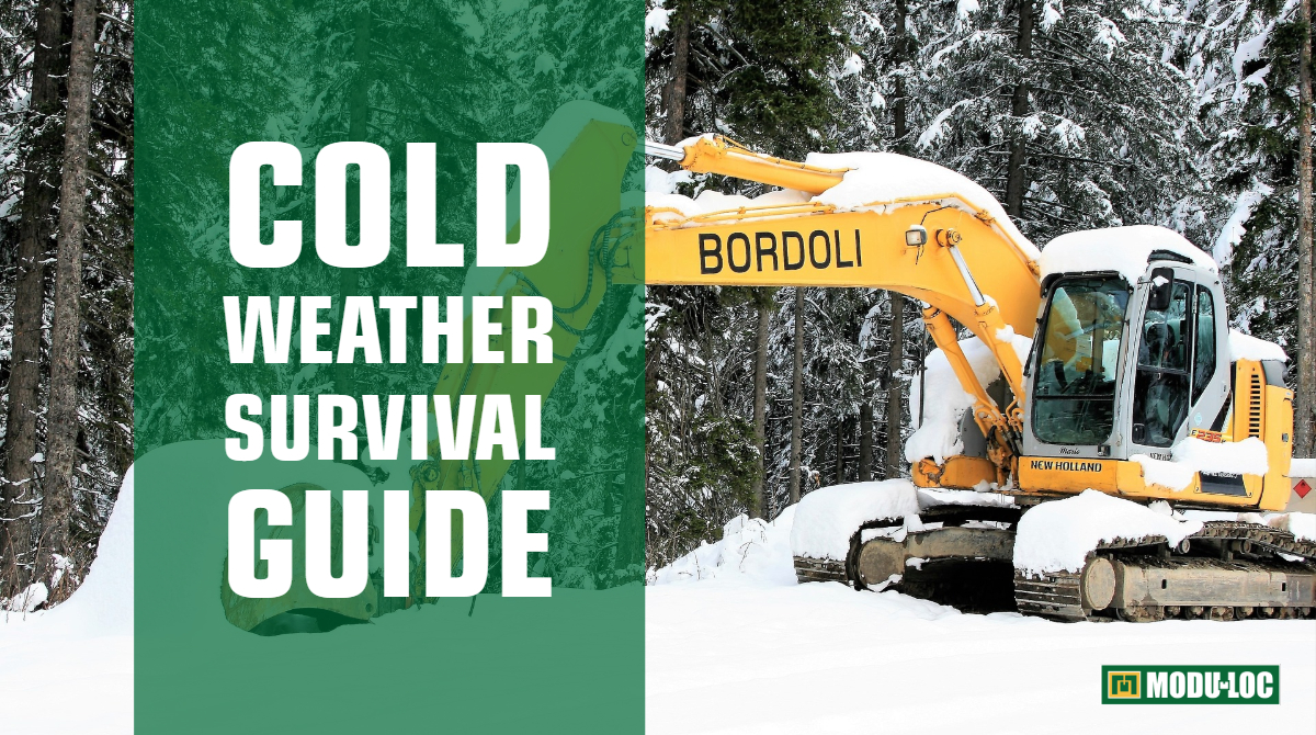 "An excavator covered in snow, with text overlay that reads ""Cold weather survival guide"""
