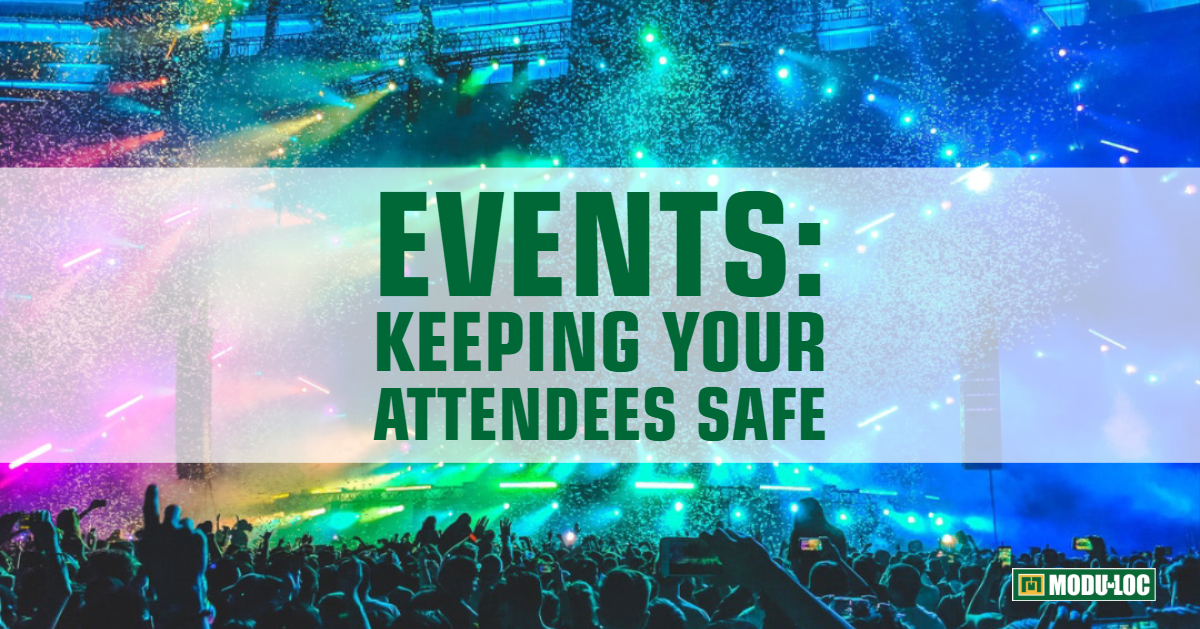 "A large audience is seen in front of an event stage lit with multi-coloured lights, and text overlay reads ""events: keeping your attendees safe"""