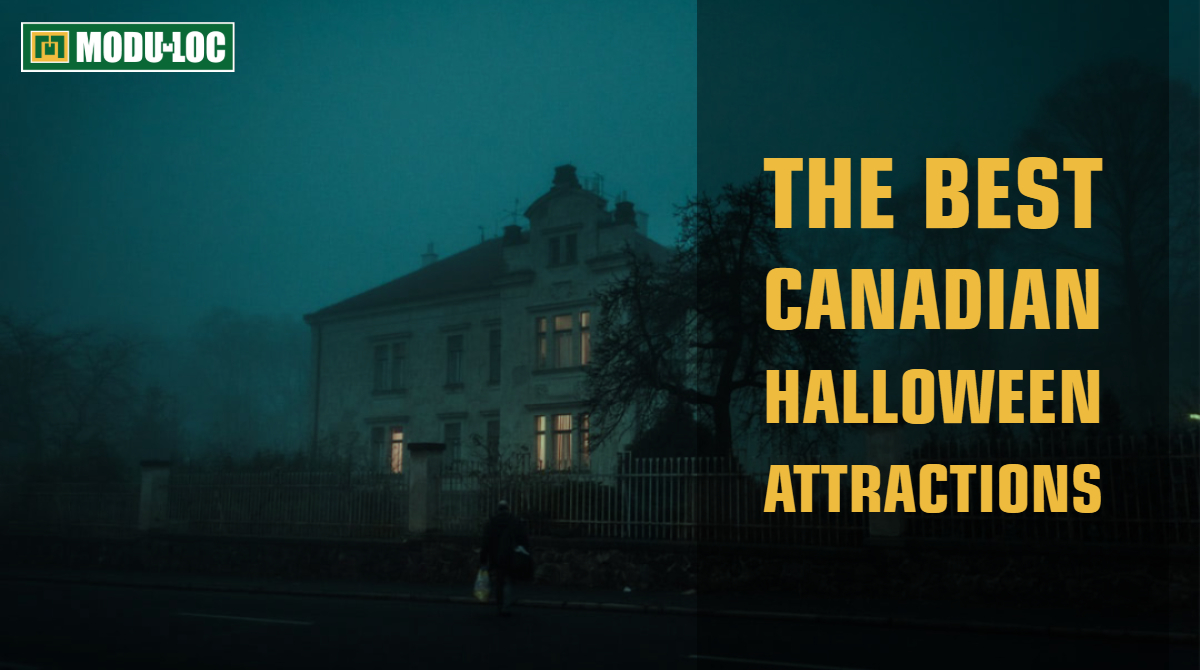 "Image of a spooky haunted house, with the title ""The Best Canadian Halloween Attractions"""